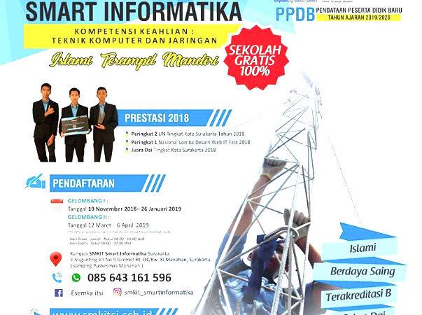 SMK IT Smart Informatika Solopeduli Gratis 100% Buka Pendaftaran PDB