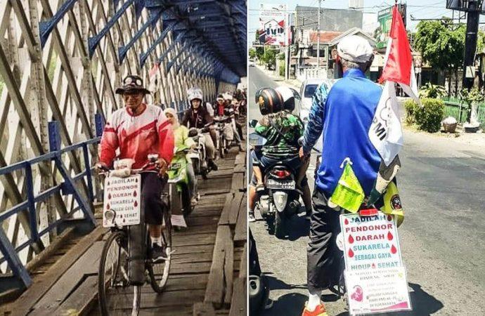 Rayakan HUT ke-75 PMI, Kakek Agus Ngontel Bandung-Solo